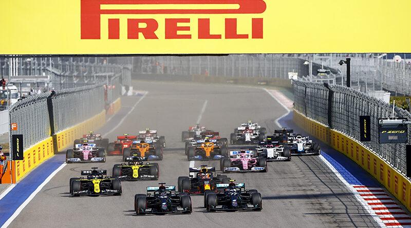 Formula One - Mercedes-AMG Petronas Motorsport, Russian GP 2020. Valtteri Bottas Lewis Hamilton leading at the start.