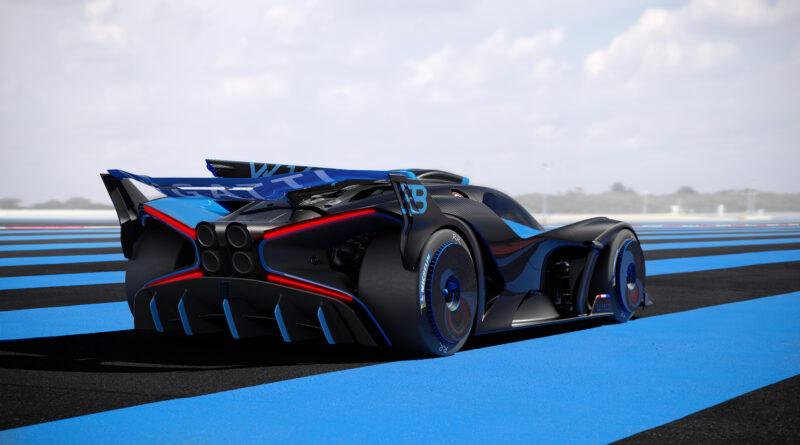 Bugatti Bolide rear perspective view ground level