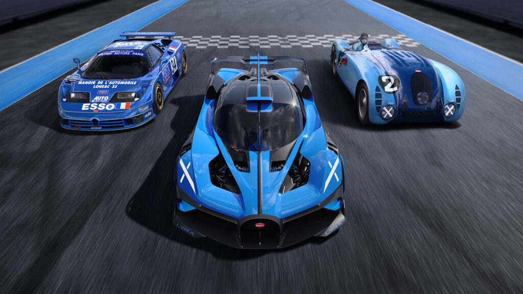 Bugatti Bolide on track with two vintage Bugatti race cars