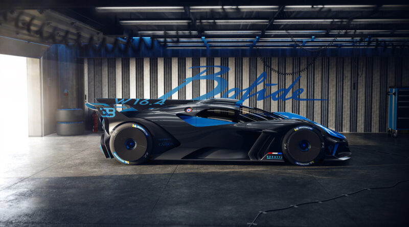 Bugatti Bolide side view in a garage