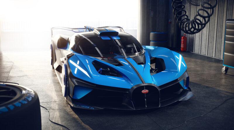 Bugatti Bolide perspective angle view in a garage