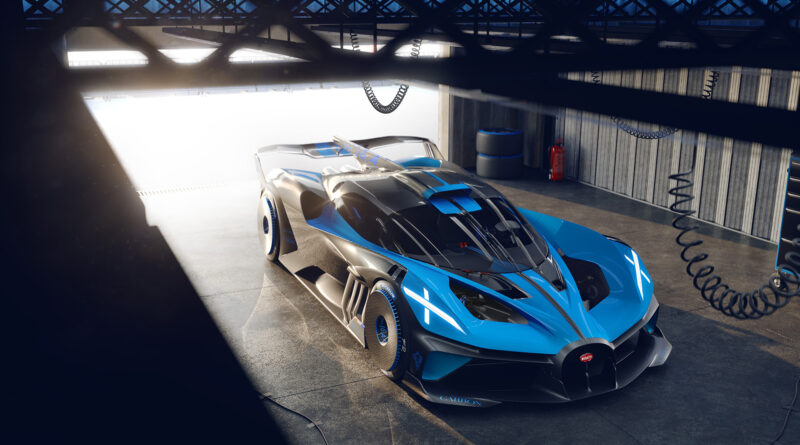 Bugatti Bolide elevated perspective angle view in a garage