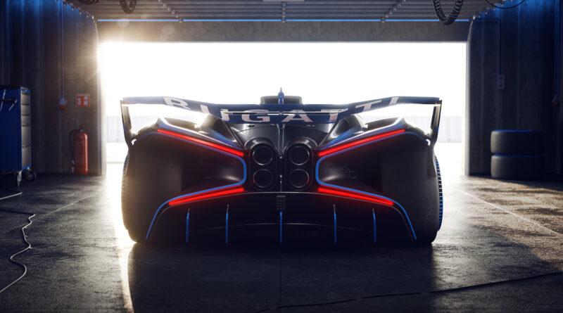 Bugatti Bolide rear view in a garage