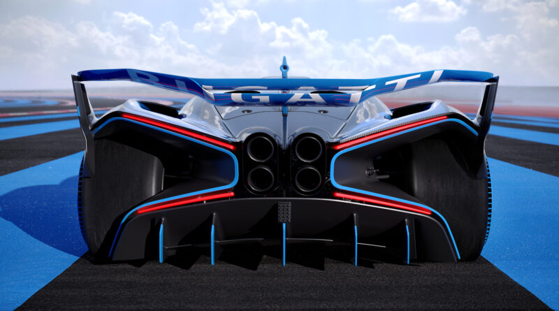 Bugatti Bolide rear view taillights and exhaust