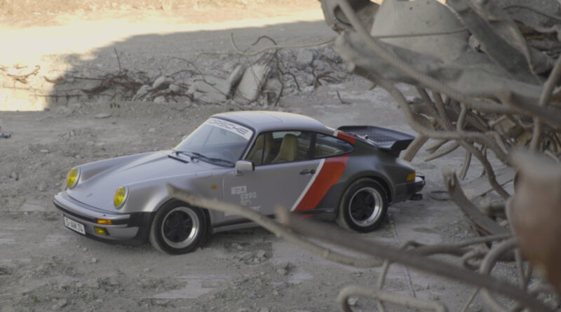 Cyberpunk 2077 real-live version of Johnny Silverhand's 1977 Porsche 911 Turbo. Elevated side view