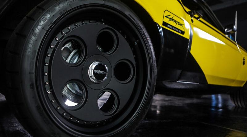 Cyberpunk 2077 Quadra Ford Mustang Built by Rockstar Performance Garage. Rotiform wheels shown here