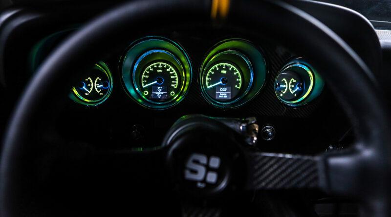 Cyberpunk 2077 Quadra Ford Mustang Built by Rockstar Performance Garage. Interior gauges shown here