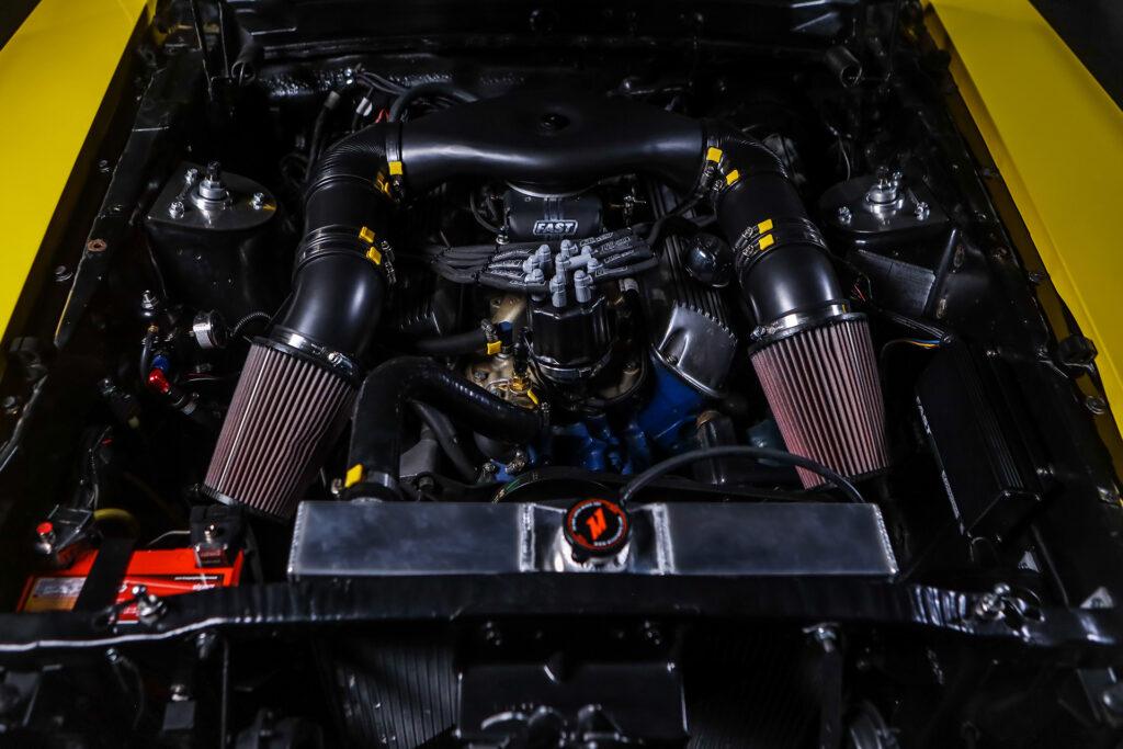 Cyberpunk 2077 Quadra Ford Mustang Built by Rockstar Performance Garage. Engine bay shown here