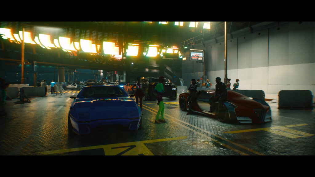 Cyberpunk 2077 cars of Night City lining up for a street race at night.