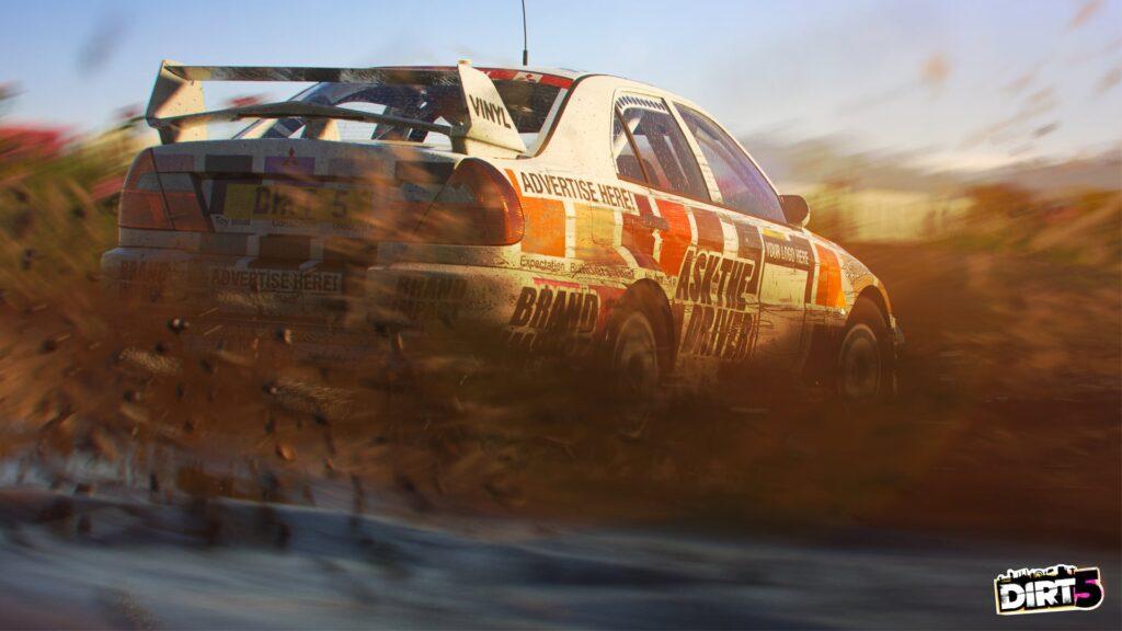 DIRT 5 screenshot of Mitsubishi Evo rally car