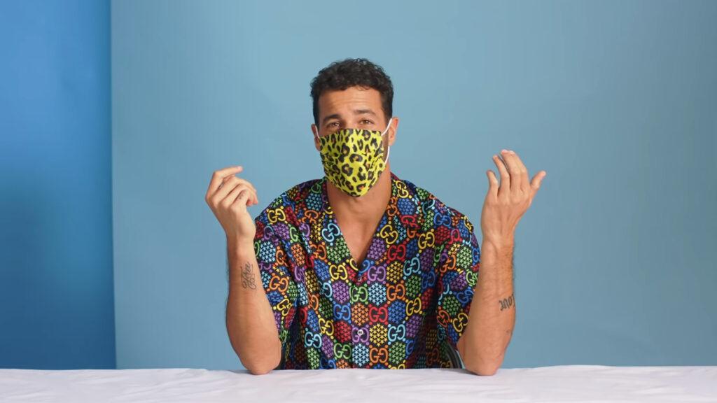 F1 driver Daniel Ricciardo wearing his leopard face mask