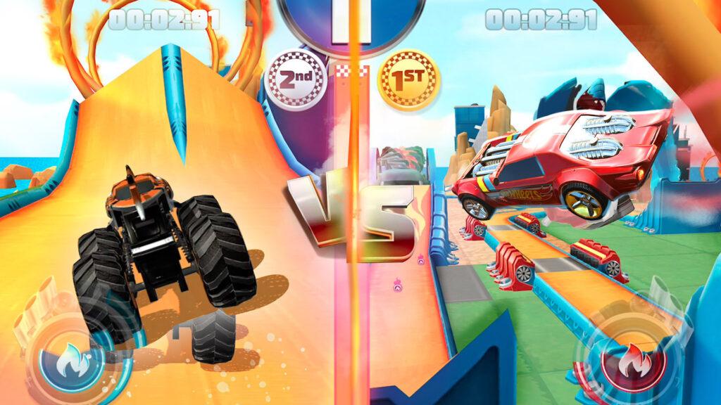 Hot Wheels Unlimited Mobile Game split screen multiplayer screenshot