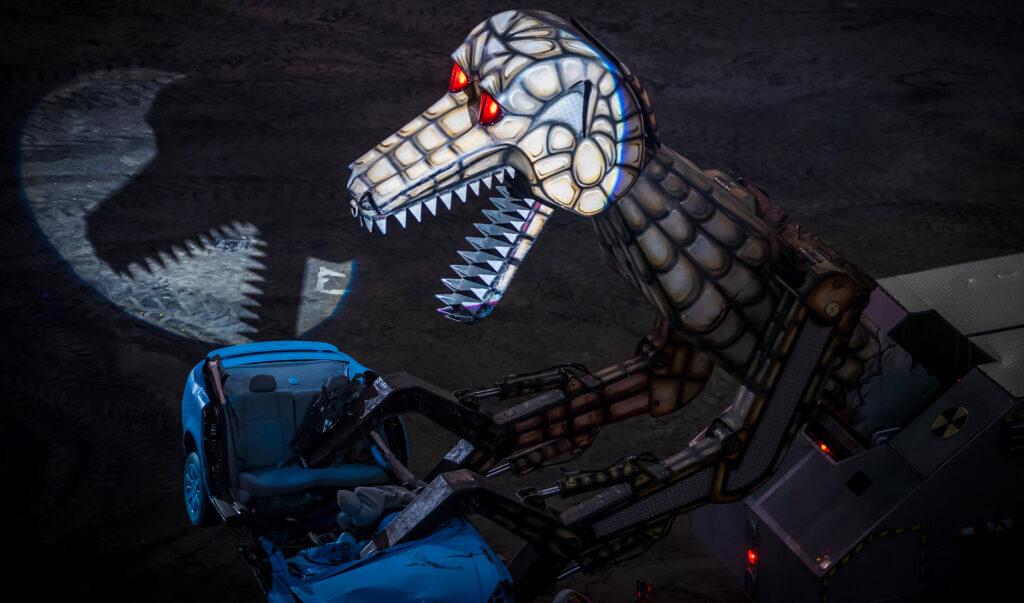 The 4 story tall Megasaurus as seen at a Hot Wheels Live monster truck event.