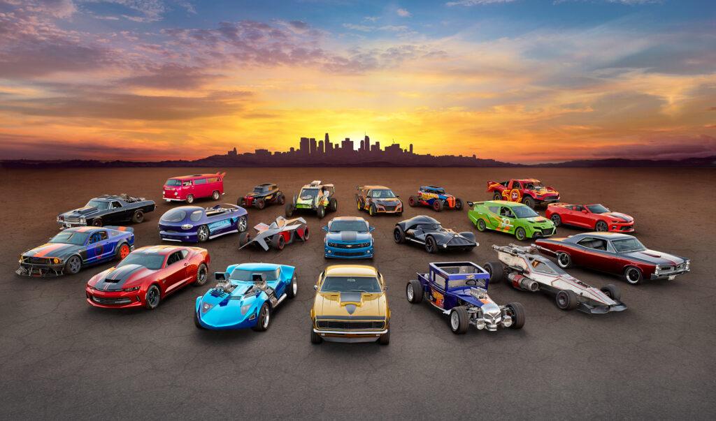 A fleet of Hot Wheels legends life-sized vehicles.