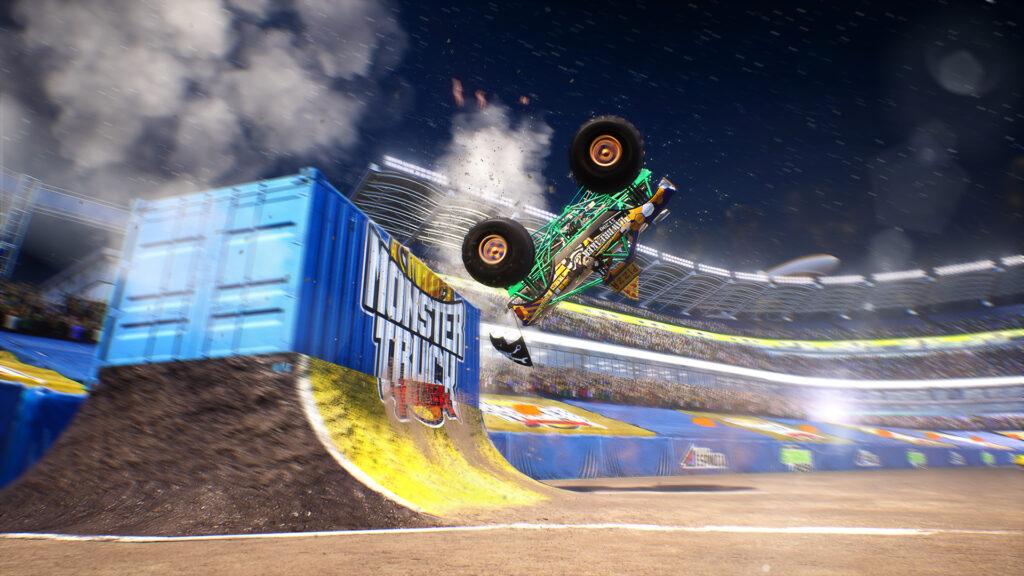 Monster Truck Championship screenshot.  Monster truck doing a back flip
