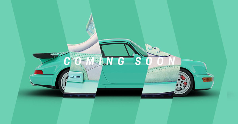 Porsche is teasing a sneaker collection inspired by the 911 Turbo. Image features a teal 964 model 911 Turbo with hints of a sneaker featuring a matching color way.