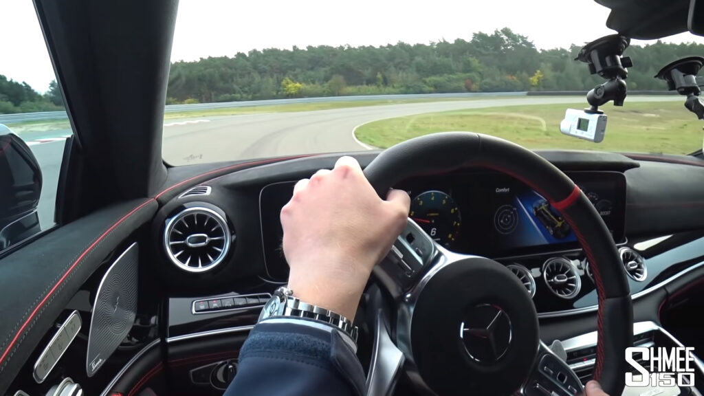 Shmee150 driving the BRABUS 900 Rocket on a race track in Germany.