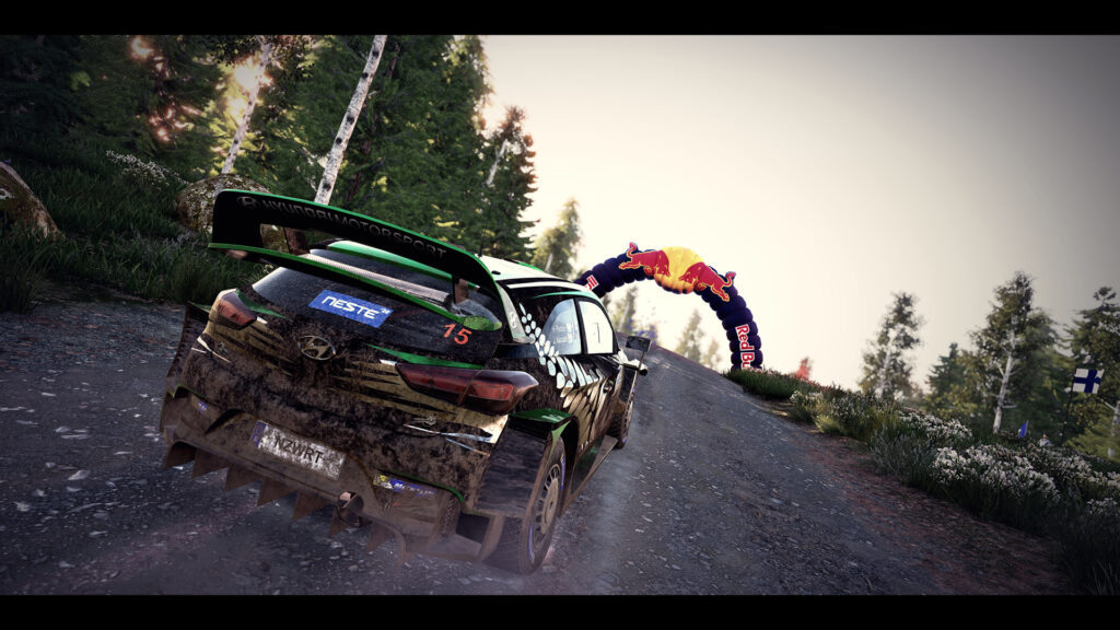 Screenshot of WRC 9 October 2020 update. The update features 6 special stages in Rally Finland and photo mode