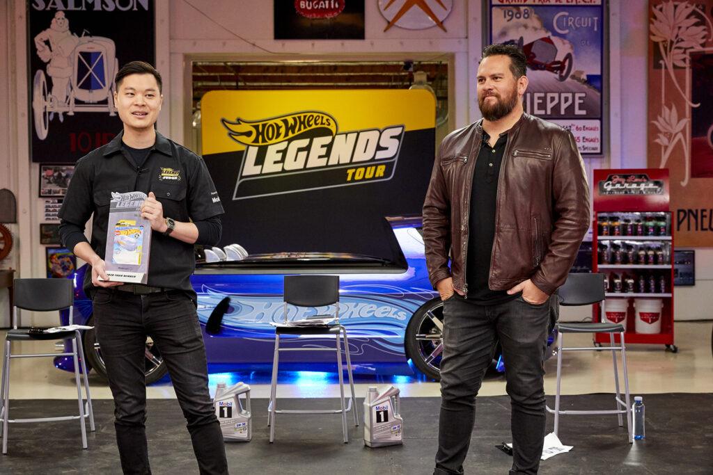 Mattel Head of Vehicle Design Ted Wu (left) with Hot Wheels Legends Tour host Jarod DeAnda (right)