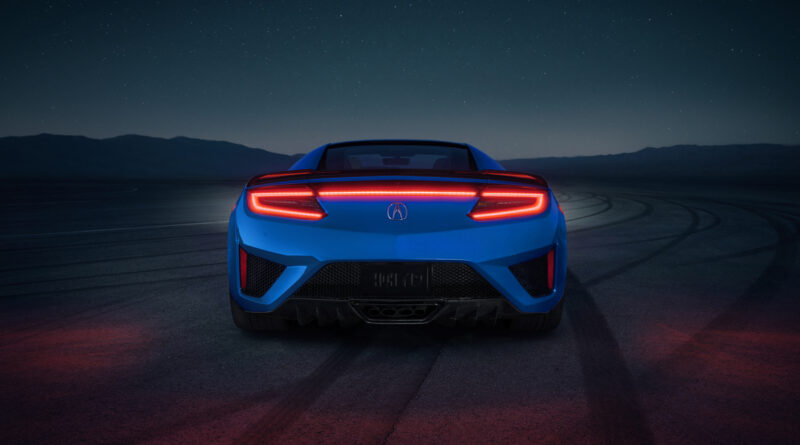 2021 Acura NSX with new Long Beach Blue Pearl paint rear view