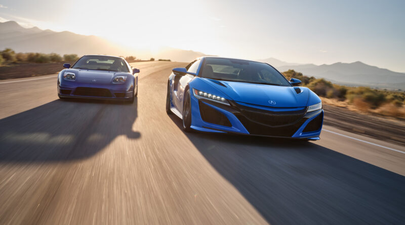2021 Acura NSX with new Long Beach Blue Pearl paint driving with 2002 Acura NSX in Long Beach blue