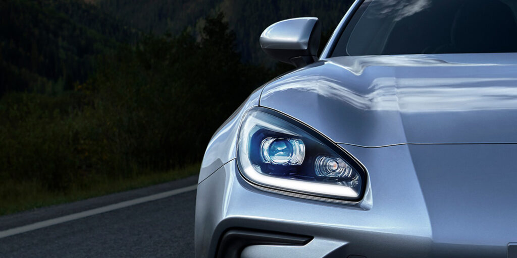 2022 Subaru BRZ teaser image. Close up view of the front bumper
