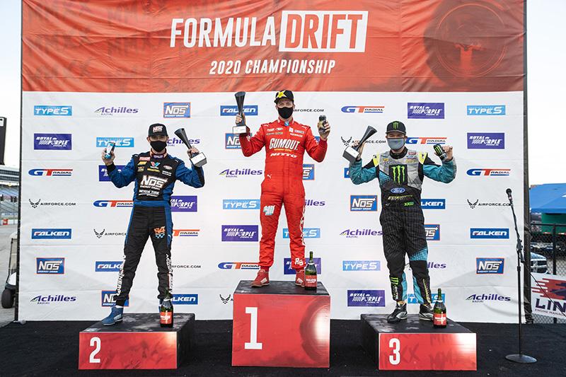 Formula Drift Texas Pro Round 5 Podium. 1st place: Ryan Tuerck, 2nd place Chris Forsberg, 3rd place Vaughn Gittin Jr.