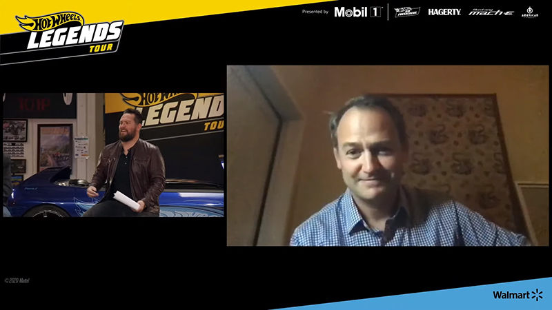 "Jarrod Deanda interviewing stunt driver and former ""Stig"" on Top Gear, Ben Collins"