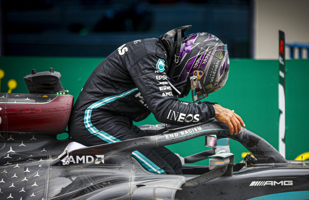 Lewis Hamilton has an emotional moment after winning  his seventh F1 world championship.