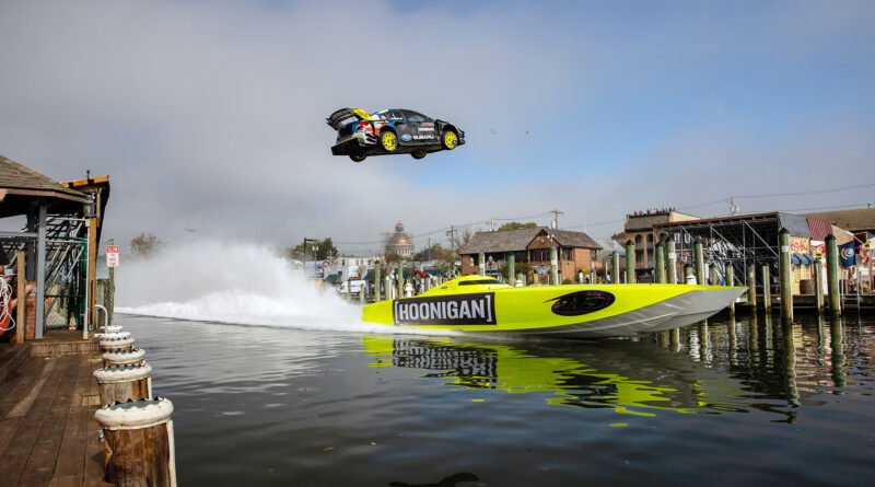 Travis Pastrana jumping over a speedboat in Gymkhana 2020