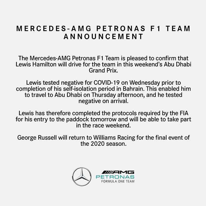 Mercedes-AMG F1 statement on Lewis Hamilton returning for the Abu Dhabi Grand Prix