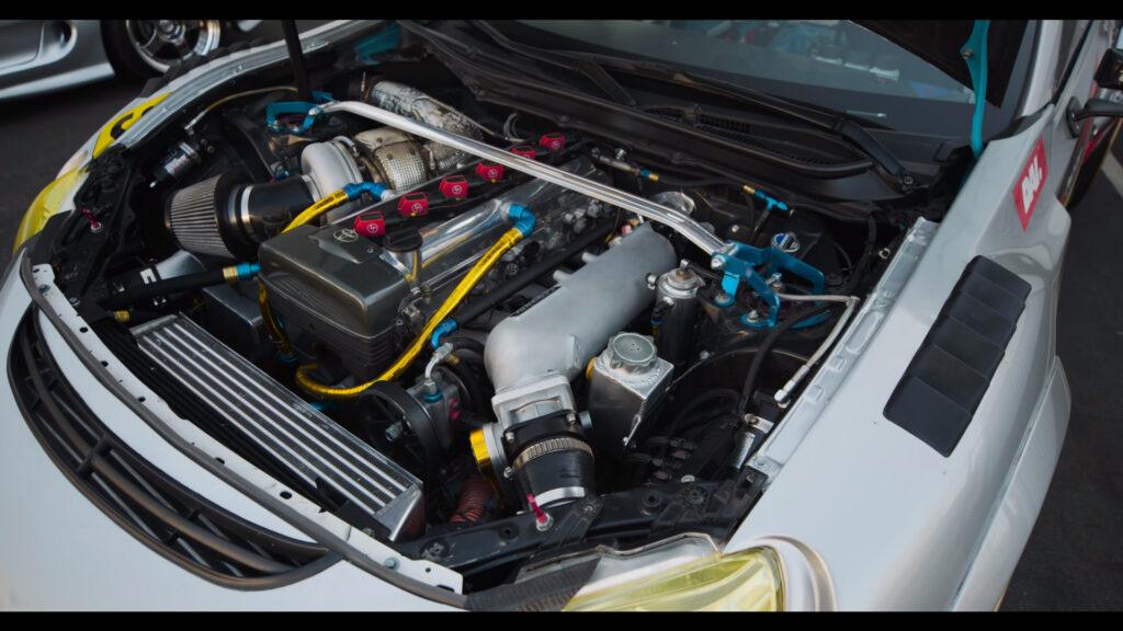 Toyota 2JZ engine under the hood of the Evasive Motorsports FR-S Pikes Peak car