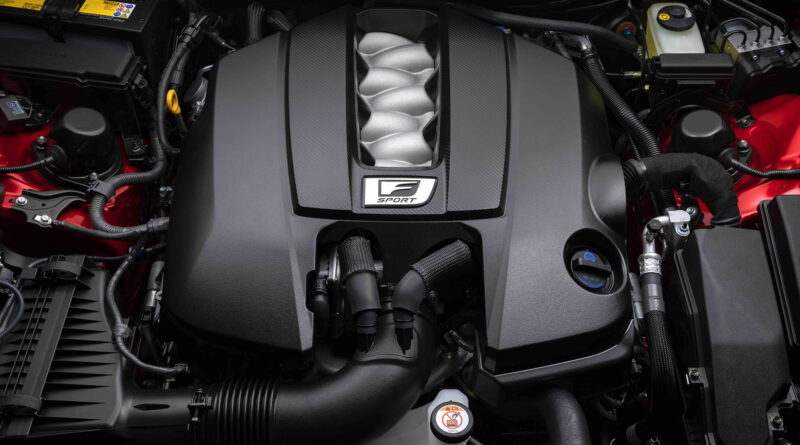 Lexus IS 500 F Sport Performance engine bay featuring 5.0 liter V8 engine with 476 horsepower