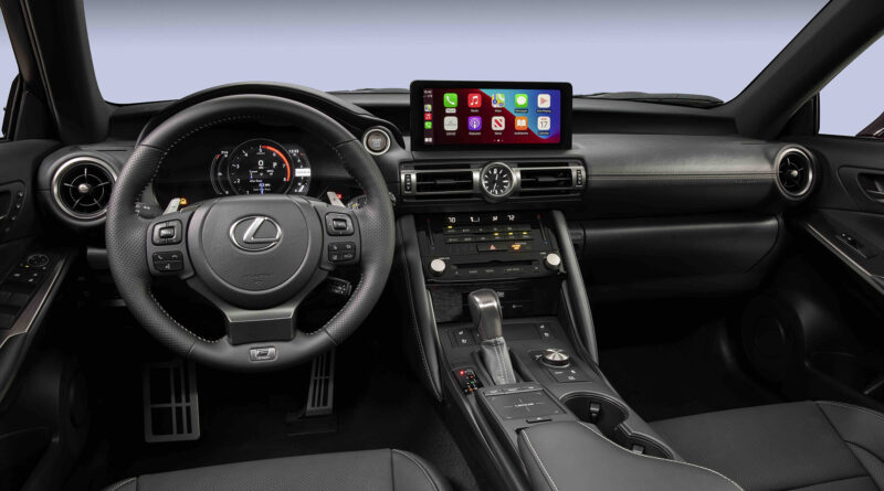 Lexus IS 500 F Sport Performance interior with Apple Car Play on infotainment touch screen
