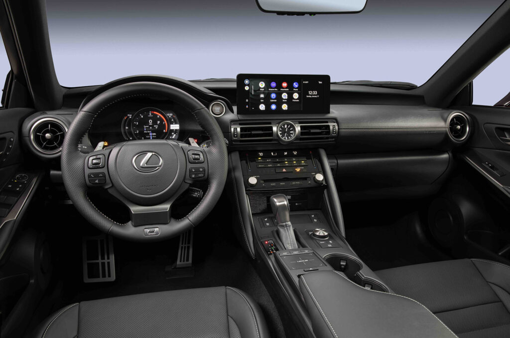 Lexus IS 500 F Sport Performance interior with Android Auto on infotainment touch screen