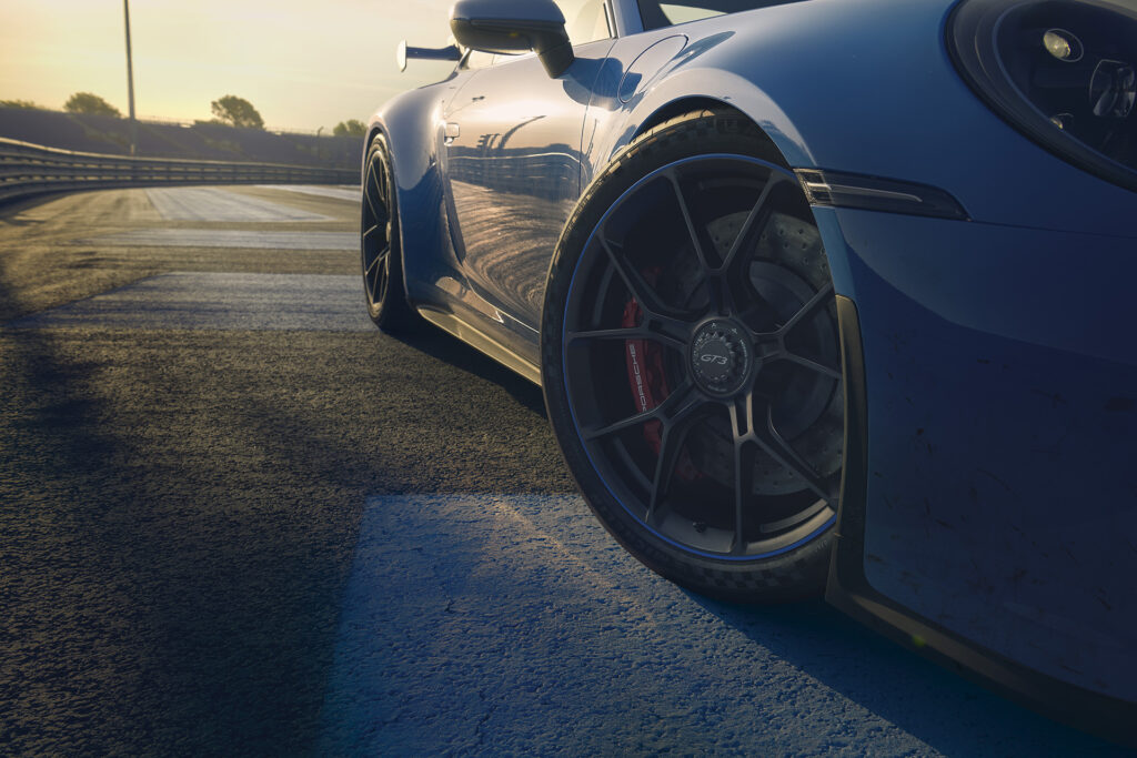 2022 Porsche 911 GT3 close up view of the forged alloy wheels