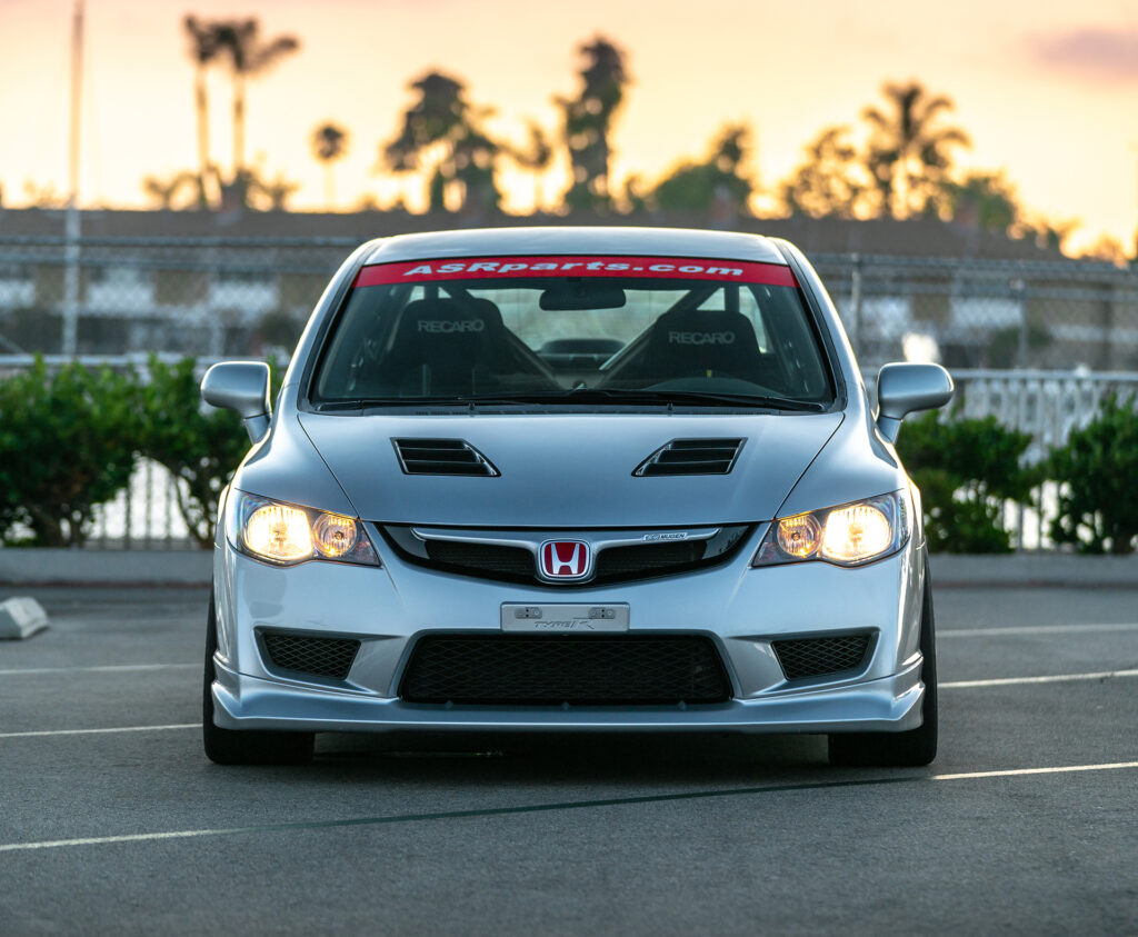 Charleston Ong's 2009 Honda Civic Si with Civic Type R conversion. Front view featuring Mugen body kit