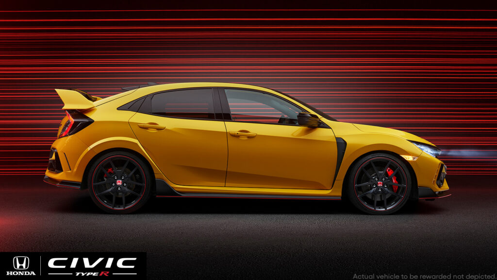 A Civic Type R Limited Edition with serial number 001 being given away by Omaze in a raffle to benefit the Thurgood Marshal College Fund