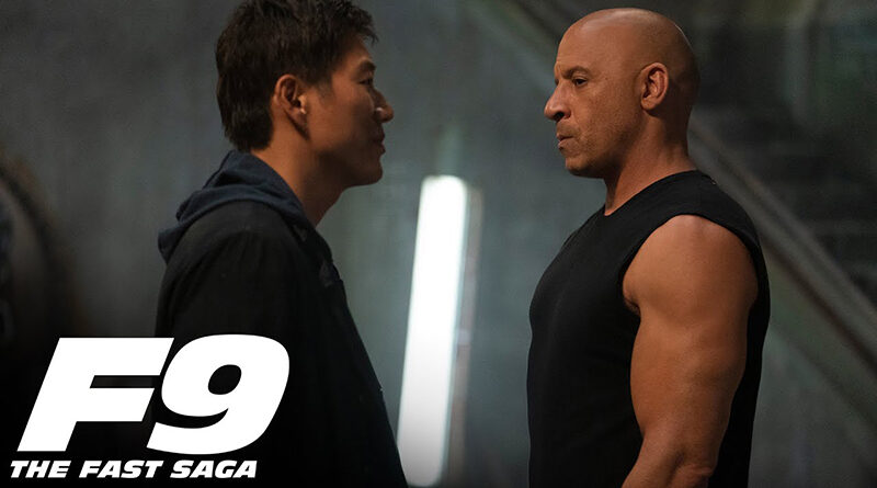 "Vin Diesel's ""Dominic Toretto"" character facing off with ""Han"" played by Sung Kang in the Fast 9 big game spot"