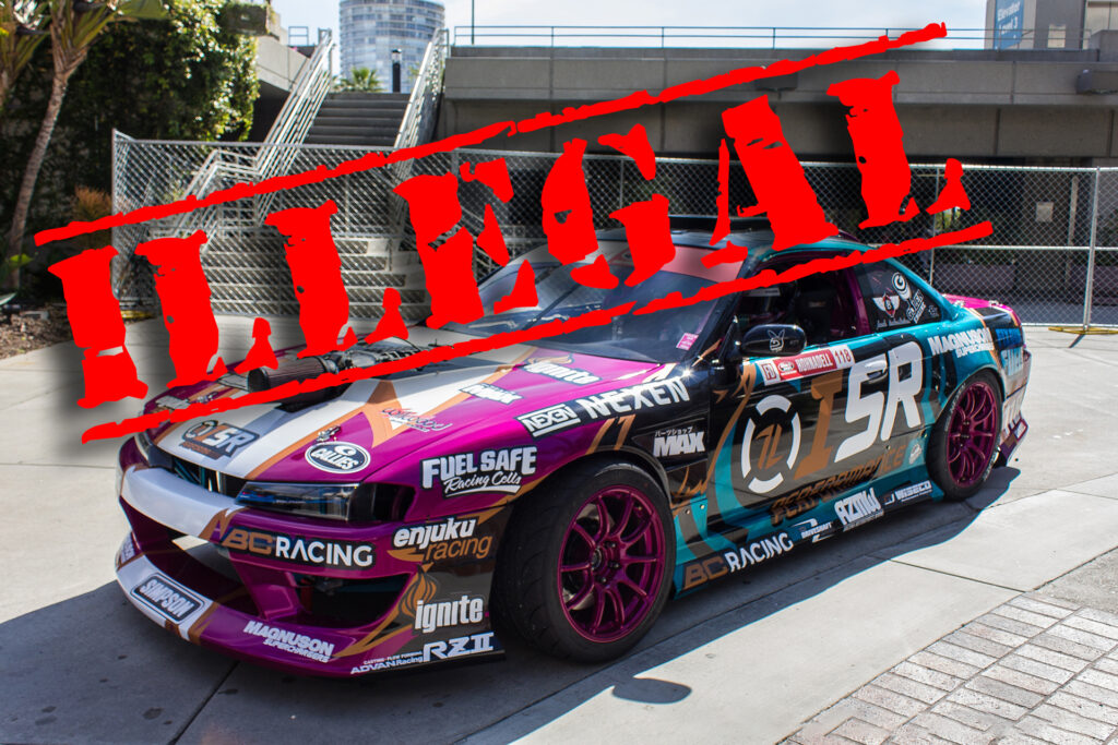 Current EPA legislation would make converting road cars into race cars illegal. An example is this Formula Drift race car.
