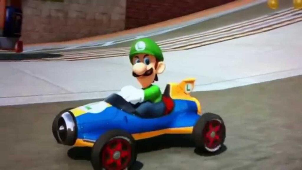 "Luigi ""Death Stare"" as seen in Mario Kart 8 video game"