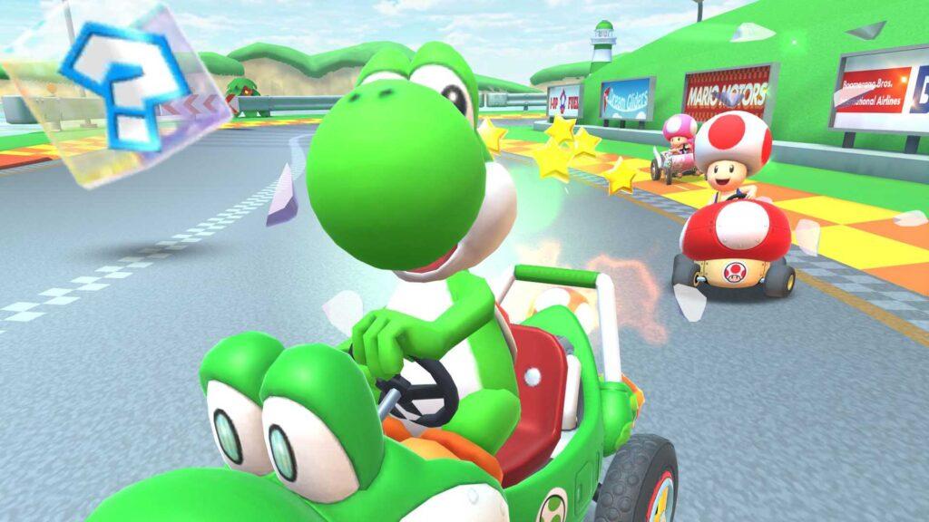 Yoshi as seen in the Mario Kart video game