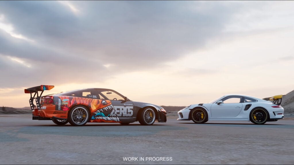 A glimpse of the next Need For Speed game featuring a white Porsche 911 GT2 and a Nissan 240SX fastback Drift car shown off during the EA Play 2020 livestream event