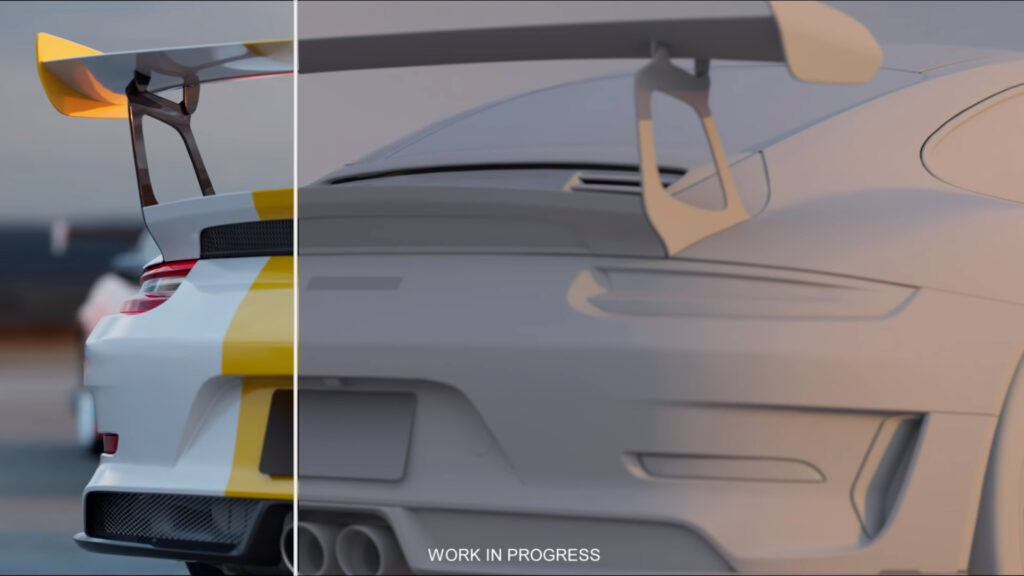 A work in progress image of the next Need For Speed game demonstrating the before and after of texture and lighting effects on a 3D model of a Porsche 911 GT2