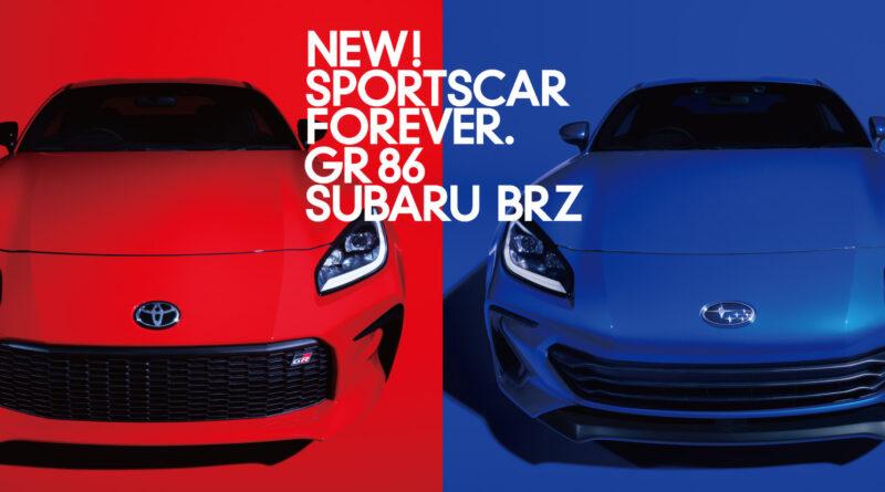 2022 Toyota GR 86 (red) next to the 2022 Subaru BRZ (blue)