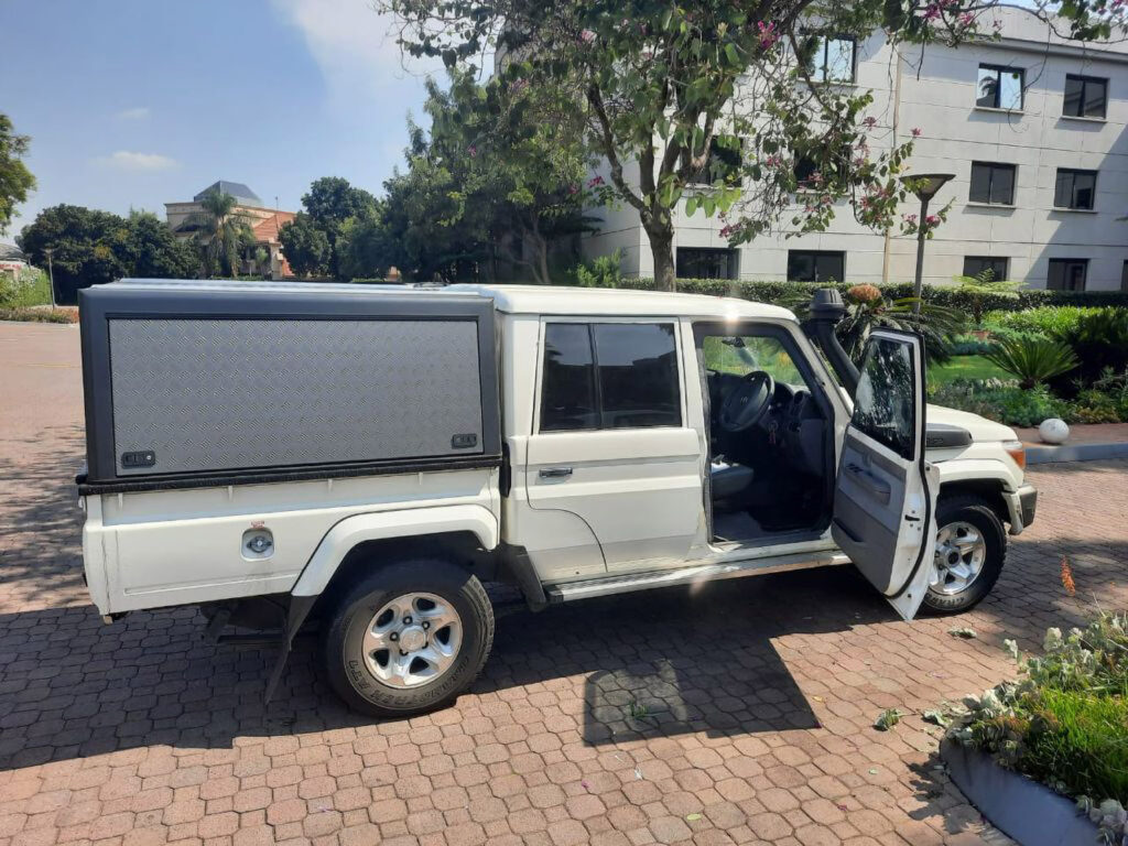 Driver's side view of an armored 2019 Toyota Land Cruiser that was attacked by armed robbers in South Africa