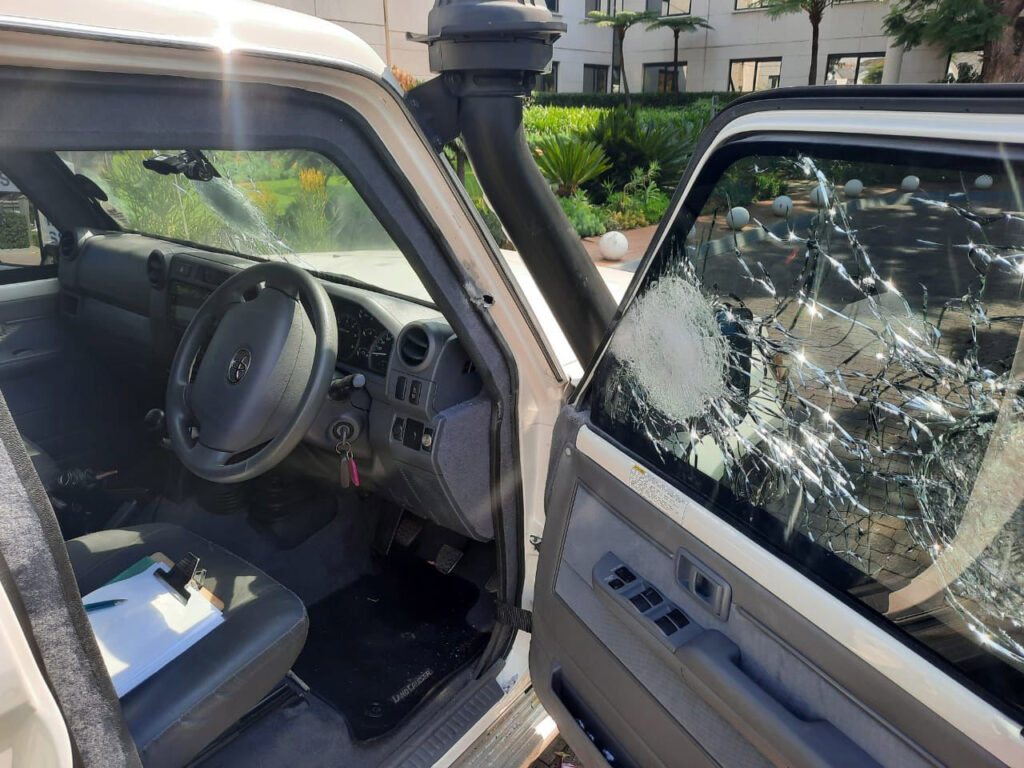 Close up of damaged bulletproof glass on an armored 2019 Toyota Land Cruiser courier car that was attacked by armed robbers in South Africa