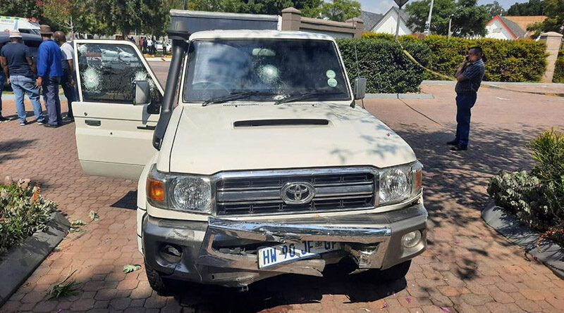 The damaged front end of an armored 2019 Toyota Land Cruiser that was attacked by armed robbers in South Africa