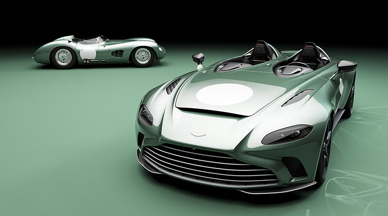 Aston Martin V12 Speedster next to the vintage Aston Martin DBR1 race car