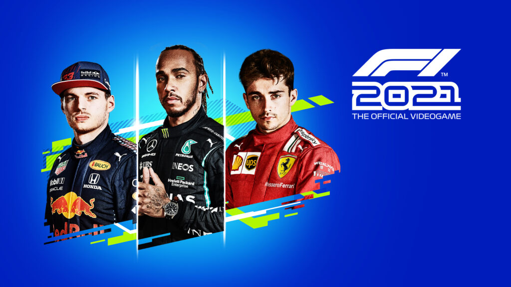 F1 2021 cover art featuring Lewis Hamilton (center), Max Verstappen (left), and Charles Leclerc (right)